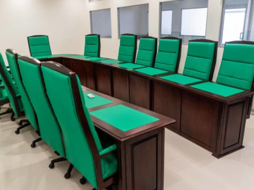 Harvard boardroom table and chairs